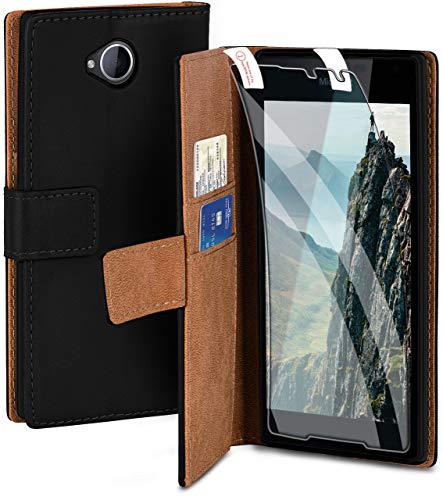 moex Handyhülle für Microsoft Lumia 650 - Hülle mit Kartenfach, Geldfach & Ständer, Klapphülle, PU Leder Book Hülle & Schutzfolie - Schwarz
