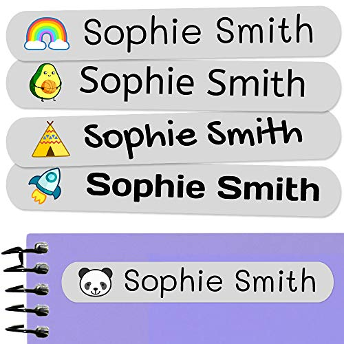 50 Personalized Adhesive Labels, 6 x 1 cm, for Marking Objects, Books, Lunch Boxes, etc. Color Light Grey