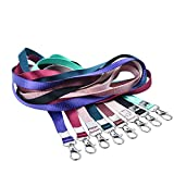 Teskyer Neck Lanyards for ID Badge Holder, Durable Flat Nylon Lanyard Strap with Stainless Swivel Hook for Name Tag Badge Holders, Keychains, Camera, Cellphone, Whistle (8 Pack,8 Color Mix)