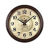 Xuejuanshop Relojes de Pared Reloj de Pared Redondo de 15 Pulgadas Ronda del Reloj clásico Retro Ambiente imitación Caoba China Reloj de Pared Mudo clásico Reloj de Cuarzo Relojes de Pared