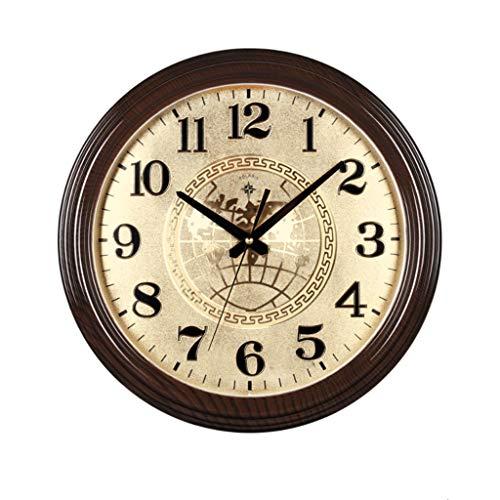 Reloj de Pared Moderno Reloj de Pared Redondo de 15 Pulgadas Ronda del Reloj clásico Retro Ambiente imitación Caoba China Reloj de Pared Mudo clásico Reloj de Cuarzo para Oficina, Cocina, Aula