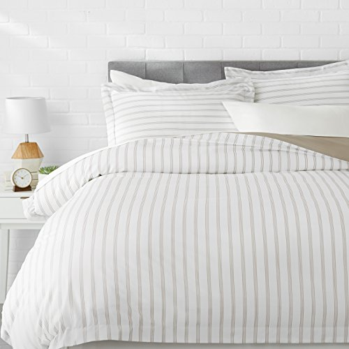 AmazonBasics Light-Weight Microfiber Duvet Cover Set with Snap Buttons - King, Taupe Stripe