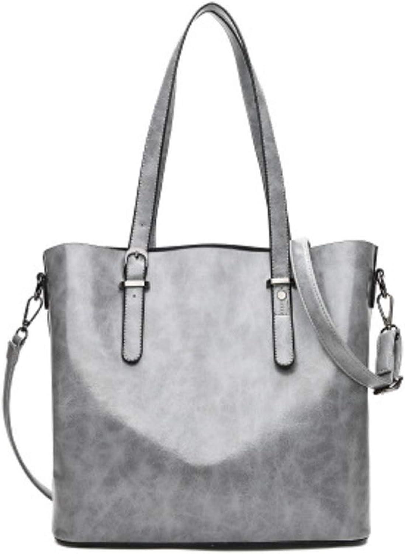 HhGold Styling Griff Handtaschen Europa und Amerika Einfache Öl Wachs Leder Schultertasche Retro Portable Big Bag (Farbe   Grau) B07H3M1KSP  Luxus
