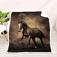 3Dプリント馬柄ソファブランケット、素敵なリビングルームブランケットフランネルブランケット、ベッド用、ラップブランケット、馬好きの友達へのプレゼント-E_135x150cm * 1