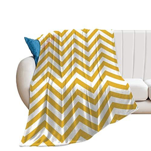 VinMea Manta de franela de color amarillo mostaza sin costuras, patrón de zigzag, suave y cálida, para cama, sofá, silla, sala de estar, oficina, granja, camping, viajes, 152 x 122 cm