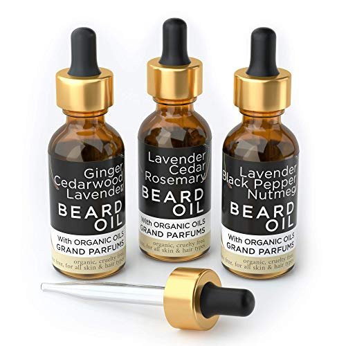 Grand Parfums MEN'S Beard Oil 3 Scents- 100% Organic & Natural Skin & Hair Conditioners Infused w/Essential Oils, Argan, Almond, Jojoba & Castor Oils – Softer, Stronger Beards (Exotic Lavender Spice)