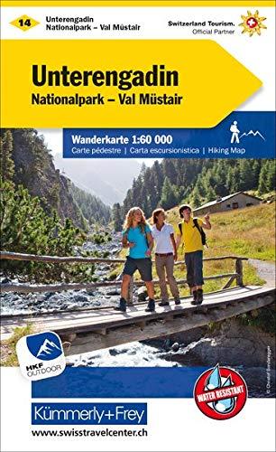 Unterengadin Wanderkarte Nr. 14: Nationalpark, Val Müstair, 1:60 000, waterproof, Free Map on Smartphone included (Kümmerly+Frey Wanderkarten)