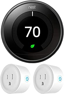 Google Nest T3018US Learning Thermostat 3rd Gen Smart Thermostat, Mirror Black Bundle with 2-Pack Deco Gear WiFi Smart Plug