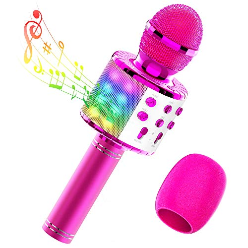 TECBOSS LED Karaoke Microphone, Wireless Bluetooth Microphone Machine for Kids Girls Teens Adults - Best Gifts Toys
