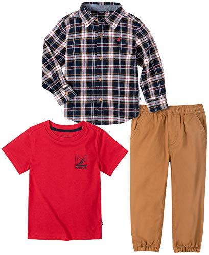Nautica Conjunto de 3 piezas de camisa/camiseta de beb, Escocs azul, 3-6 meses