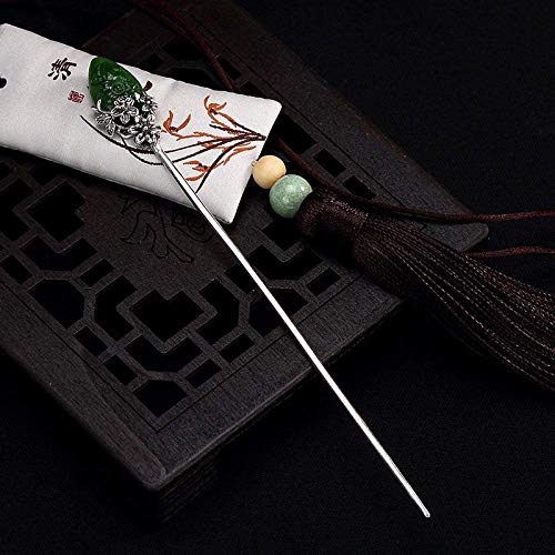 YEESEU. 925 Sterlingsilber-Haarnadel-Haar-Stock-Retro chinesische Jasper Plum klassisches weibliches Temperament Braut-Haar-Zusatz-Dekoration Feste