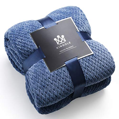 Kingole Flannel Fleece Luxury Throw Blanket, Sapphire Blue Queen Size Jacquard Weave Pattern Cozy Couch/Bed Super Soft and Warm Plush Microfiber 350GSM (90 x 90 inches)