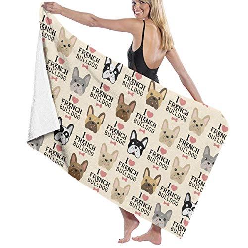 I Love French Bulldog Microfiber Beach Towels Oversized for Bathroom Quick Dry Bath Towel for Women Men