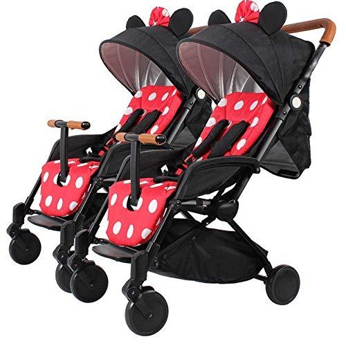 Haojiechunxiang Zwillingsbuggy Leichter zusammenklappbarer Kinderwagen kann liegend sitzen Doppelbaby-Abnehmbarer Regenschirm