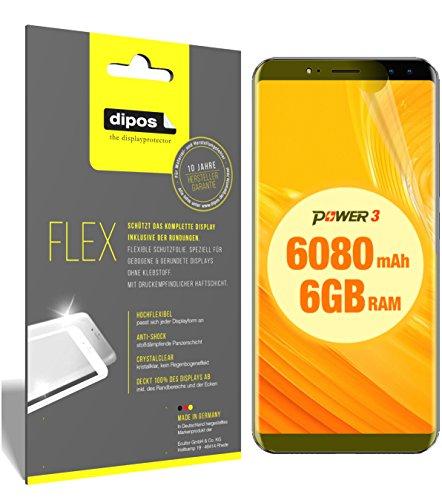dipos I 3X Schutzfolie 100prozent kompatibel mit Ulefone Power 3 Folie (Vollständige Bildschirmabdeckung) Bildschirmschutzfolie