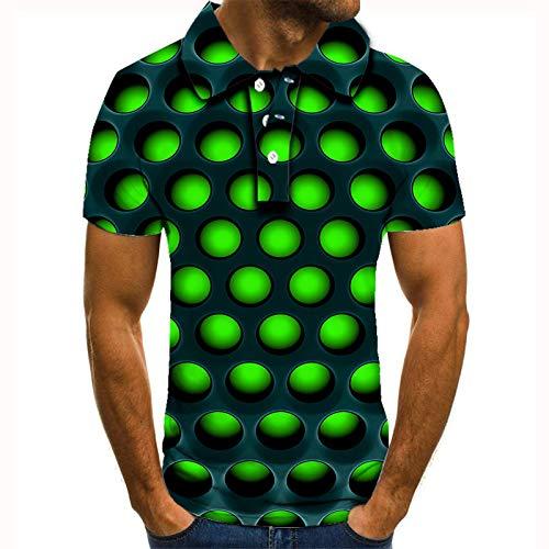 Polo 3D para Hombre,3D Impresión Fluorescente Bolas Verdes Manga Corta Bowling Camisas Hombres Fresco Rápido Seco Sudor Al Aire Libre Deportes De Moda Ropa para Los Hombres Regalo para Él