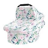 HelloCreate, copriseggiolino auto per bambini, elastico, copertura per allattamento al seno, copertura per seggiolino auto – base bianca verde fiore