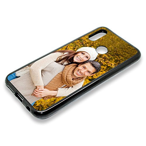 PixiPrints Personalisierte Premium Foto-Handyhülle selbst gestalten mit Foto Bedrucken, Hüllentyp: TPU-Silikon/Schwarz Matt, Kompatibel mit Huawei P30 Lite
