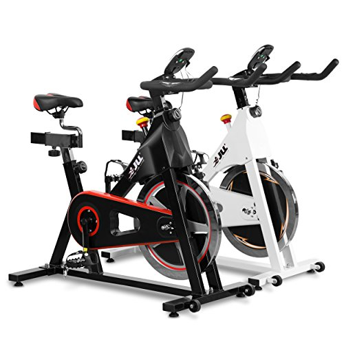 JLL IC300 Indoor Exercise Bike 2019, Cardio Workout, 18kg Flywheel Smooth Cycling, Adjustable Handlebars & Seat, Heart Rate Sensors & 6-Function Monitor + Pulse (Black).