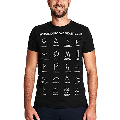 Elbenwald Wizarding Wand Spells Chart Herren T-Shirt für Harry Potter Fans Baumwolle schwarz - XL