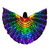 LED Kids Belly Dance Wings Girls Colorful Butterfly Wings Tap Dancing Equipment Glowing Light Up Costumes With Telescopic Stick for Stage Festival and Party