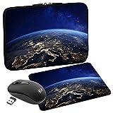 PEDEA Design Schutzhülle Notebook Tasche bis 15,6 Zoll (39,6cm) mit Mauspad & schnurloser Maus, Space Night