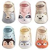 Baby Non Skid Anti Slip Socks Grip for Toddler Girls Boys Slipper 0-36 Months 6 Pairs (0-12month, Little Bear)