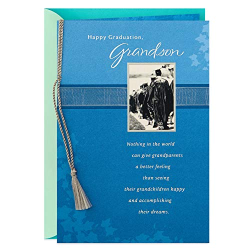 Hallmark Graduation Card for Grandson (Blue Ivy and Silver Tassel) (499GGJ4972)
