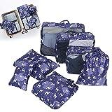 Juego de cubos organizadores de viaje para embalaje de 7 piezas, organizador de equipaje de mano impermeable para...