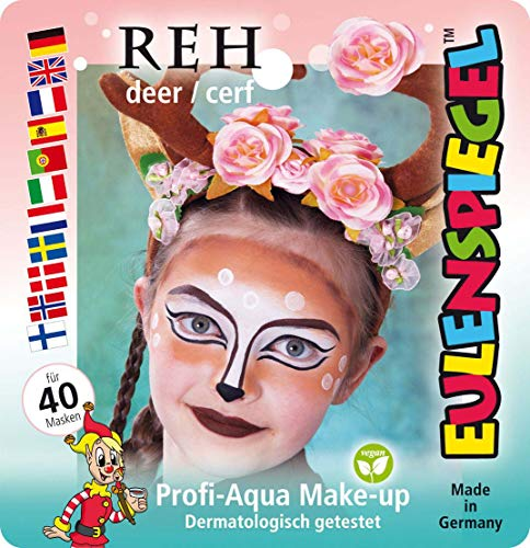Eulenspiegel 205006 - Schminkset Reh, für ca. 40 Masken, Schminkfarben, Karneval, Mottoparty