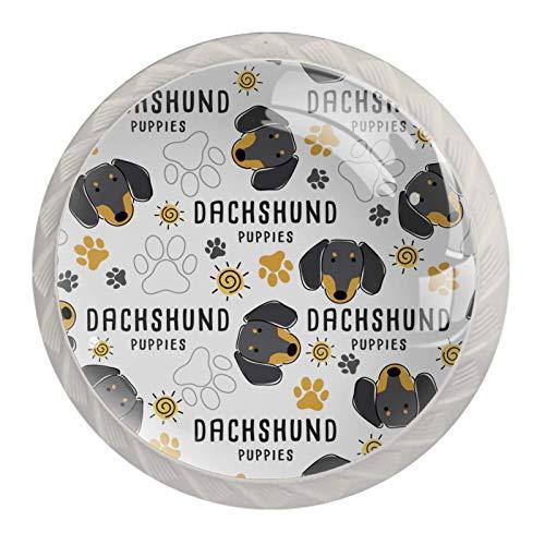 Perillas de gabinete de cocina Perillas decorativas redondas Gabinete Cajones de armario Tirador de tocador 4PCS Dachshund Dog Paw Cachorros Raza Patrón