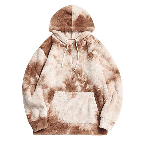 ZAFUL Fashion Hooded Sweatshirts Unisex Colorblock Splicing Drawstring Fluffy Faux Fur Hoodies Pullover (Small, Half Zipper - Multi C)