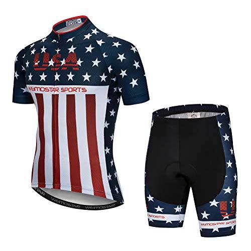 Herren Radtrikot + Shorts Set Kurzarm Fahrrad Trikot + Shorts Bergbekleidung Sommerbekleidung Schnelltrocknend, Herren, usa, Chest32-34