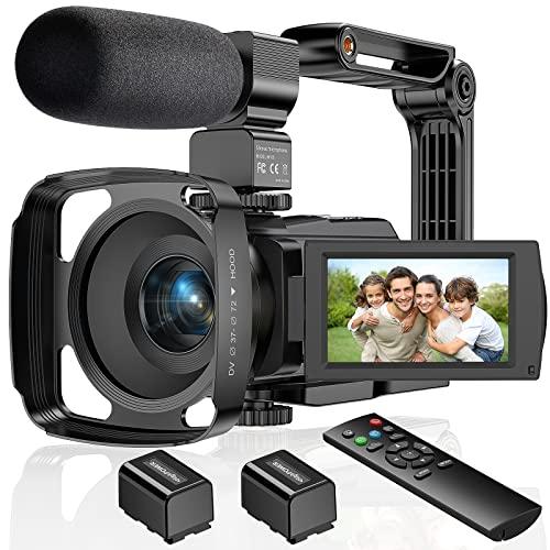 ZORNIK 4K Videocámara, Cámara de Video con Visión Nocturna Digital por Infrarrojos de 48 Megapíxeles, Cámara de Vlogging con Pantalla Táctil LCD de 3.0 Pulgadas y Zoom Potente de 16X