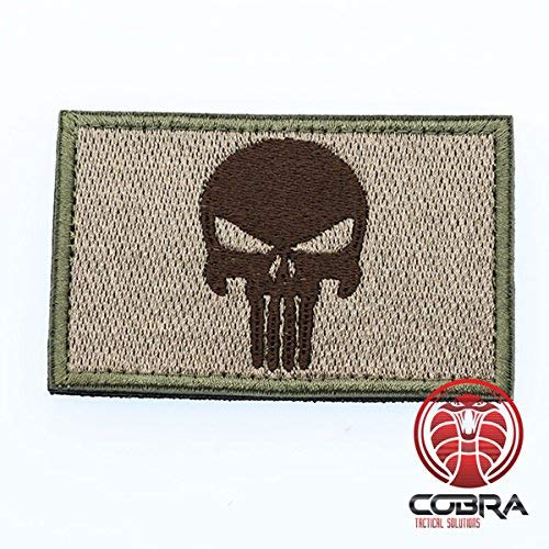 Cobra Tactical Solutions Punisher Skull Military Besticktes Patch mit Klettverschluss für Airsoft Cosplay Paintball für Taktische Kleidung Rucksack