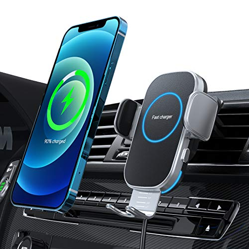 Car Wireless Charger, 15W Fast Charging Auto-Clamping Car Charger Mount, Air Vent Car Charging Holder for iPhone 12/12 Pro/ 11/11 Pro/XR/Xs Max/XS/X/8+ /8, Samsung S21/S20 /S10/S9/S8/Note 10/Note 9