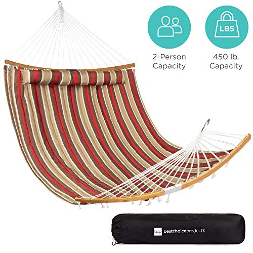 Best Choice Products 2-Person Portable Quilted Hammock w/Curved Bamboo Spreader Bar, Pillow, Carry Bag - Burgundy/Tan