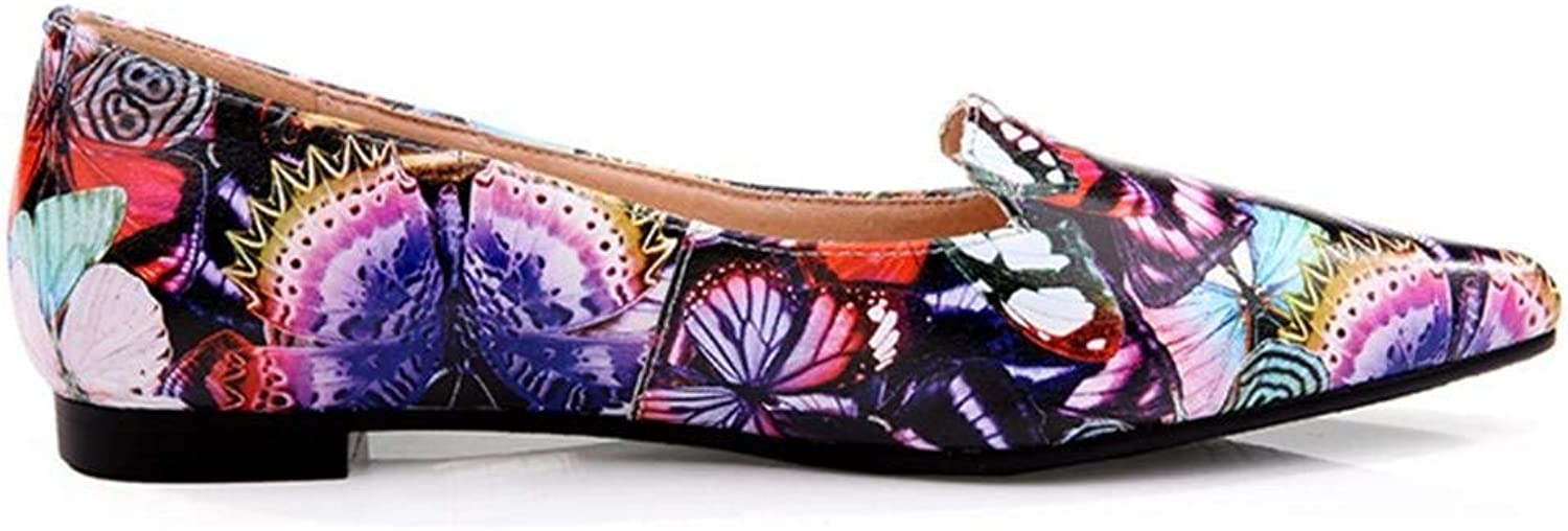 GouuoHi Womens Elegant Spring Women's shoes Shallow Mouth Skin Casual shoes Pointing Head Floral Butterfly Printed Pattern Leisure Outdoor Flat Single shoes