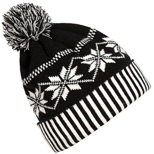 Kuyou Damen Winter Flanging Schneeflocke Streifen Mütze Wollmütze Strickmütze...