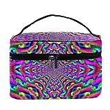 Bolsa de maquillaje de pavo real psicodélico con diseño de mandala de pavo real, bolsa de maquillaje, organizador con cremallera, para mujeres y niñas