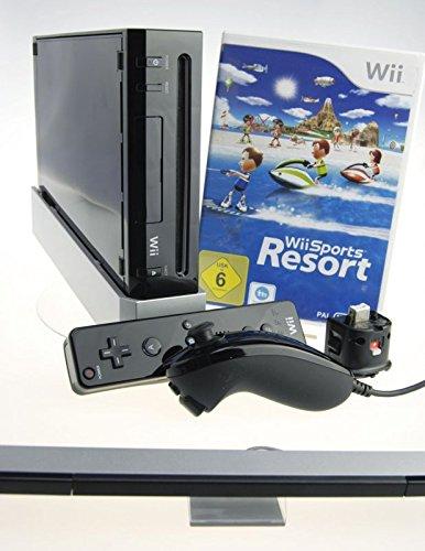Nintendo Wii Konsole in schwarz mit Wii Sports Resort und Motion Plus Adapter