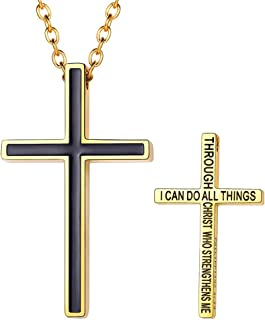 FaithHeart Cross Necklace, Stainless Steel/Gold Plated Christian Jewelry Church Baptism Gift Cross Pendant Necklaces for M...