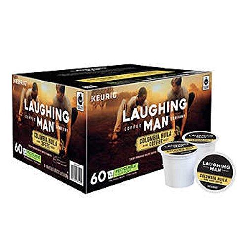 Laughing Man Hugh Jackman Single-Serve Fair Trade Keurig Recyclable K-Cup Arabica Coffee Pods, Colombia Huila Dark Roast