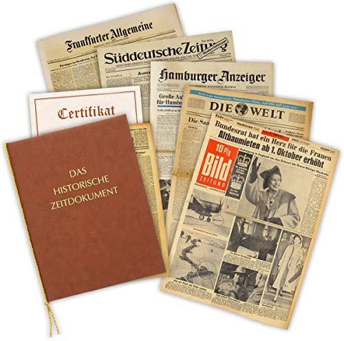 Geschenkidee zum 50. Geburtstag: Zeitung vom Tag der Geburt - historische Zeitung inkl. Mappe & Zertifikat