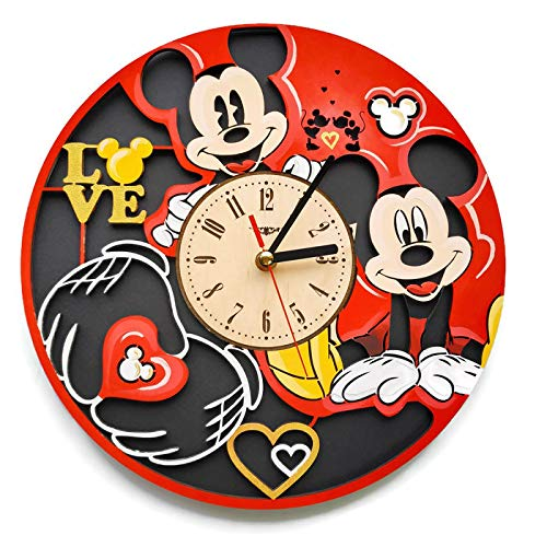 ShareArt Mickey Mouse Hand Painted Silent Wood Wall Clock - Original Home Nursery Living Room Bedroom Kitchen Decor - Best Gift for Friends Kids Men Woman - Unique Wall Art Design - Size 12 Inch