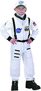 Aeromax Personalized Jr. Astronaut Suit with Embroidered Cap and NASA Patches, White