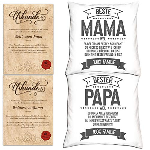 Soreso Design Geschenk Set für Eltern zu Weihnachten 2 Kissen und 2 Urkunden für Mama und Papa Farbe Weiss