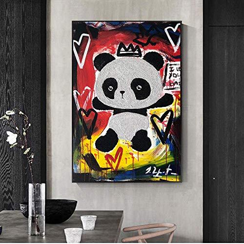 WPLHH Graffiti Street Art Panda Love Print Abstracto Graffiti Arte Moderno Lienzo Cuadro Cuadro Cuadro de...