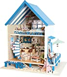 Cuteroom DIY Wooden Dollhouse Handmade Miniature Kit- <span class='highlight'>Romantic</span> Aegean Sea Villa Model & <span class='highlight'>Furniture</span>/Music box
