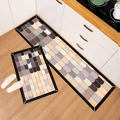 OPLJ Alfombra de cocina geométrica impermeable a prueba de aceite, alfombra de cocina, entrada de cuero, alfombra de baño, alfombra antideslizante para puerta A6, 40 x 60 cm